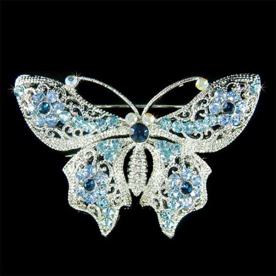 Something Blue Bridal Wedding Swarovski Crystal Butterfly Brooch