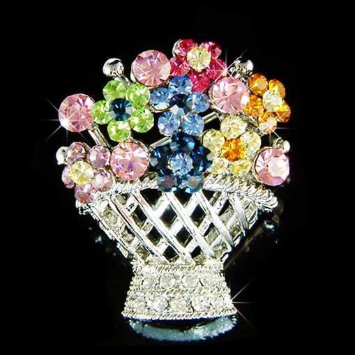 Swarovski Crystal Colorful Rainbow Lady Flower Basket Brooch