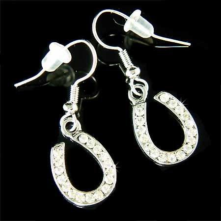 Western Bride Swarovski Crystal Dangle Horseshoe Earrings