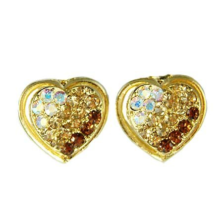 Gold Heart Swarovski Crystal Bridal Wedding Party Earrings