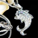 Adorable Swarovski Crystal Clear Dolphin Pendant Necklace
