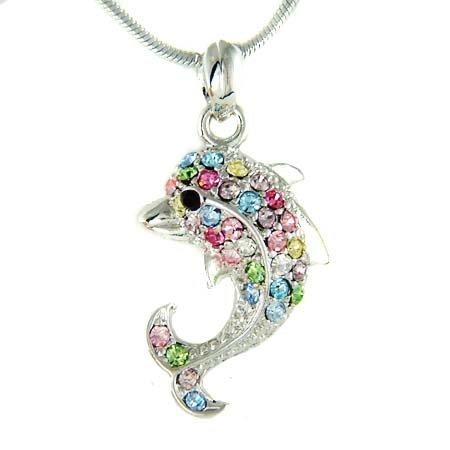 Adorable Swarovski Crystal Rainbow Dolphin Pendant Necklace