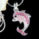 Pink Swarovski Crystal Wildlife Animal Dolphin Pendant Necklace