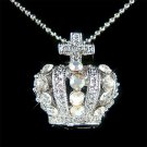 Celebrity Bridal Swarovski Crystal Crown Cross Pendant Necklace