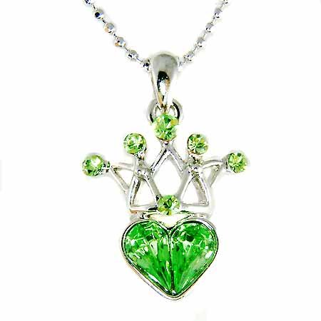 Spring New Swarovski Crystal Queen Crown Heart Pendant Necklace