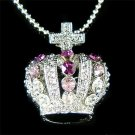 Purple Celebrity Swarovski Crystal Crown Cross Pendant Necklace