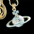 Swarovski Crystal Enamel Orb Cross Orbit Pendant Necklace