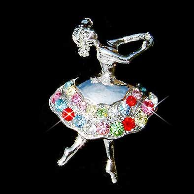 Rainbow Swarovski Crystal Ballerina Ballet Dancer Girl Brooch