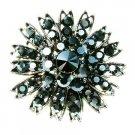 Black Swarovski Crystal Flower Cluster Bridal Starburst Brooch