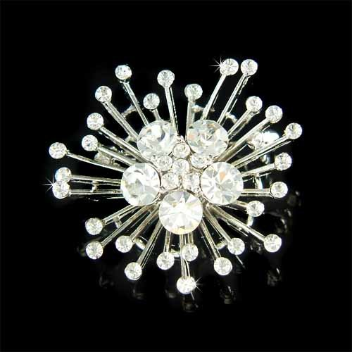 Swarovski Crystal Bridal Wedding Snowflake Starburst Brooch