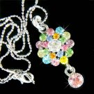 Swarovski Crystal Rainbow Floral Flower Pendant Chain Necklace