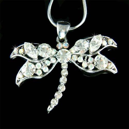 Bridal Wedding Swarovski Crystal Dragonfly Pendant Necklace