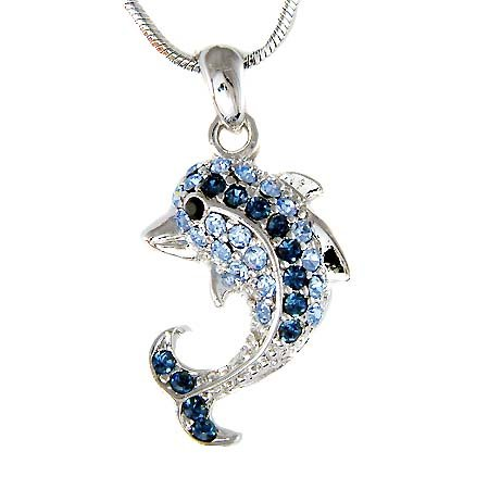 Swarovski Crystal Something Blue Beach Wedding Dolphin Necklace