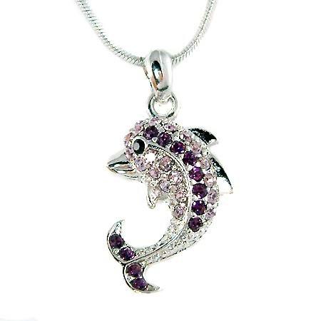 Swarovski Crystal Beach Wedding Purple Dolphin Pendant Necklace