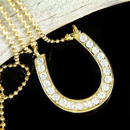 Western Bride Swarovski Crystal Gold Horseshoe Charm Necklace