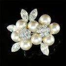 Elegant Swarovski Crystal and Pearl Flower Brooch for Wedding
