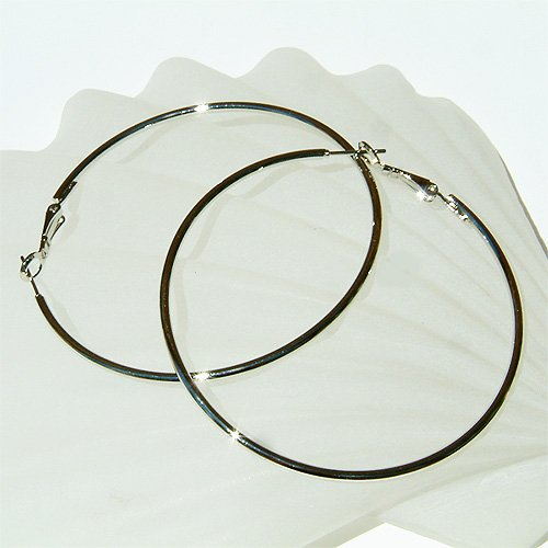 """2 1/2"""" (60mm) Large Celebrity White Gold-Plated Hoop Earrings"""