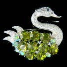 Swarovski Crystal Big Green Swan Brooch