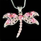 Bridal Swarovski Pink Dragonfly Crystal Pendant Chain Necklace