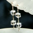 Swarovski Cube Square Crystal Bridal Sterling Silver Earrings