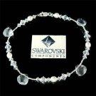 Swarovski Crystal Drop Freshwater Pearl Sterling Silver Anklet