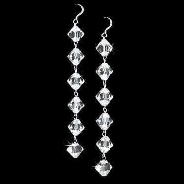 "Bridal 3"" Long Swarovski Clear Crystal Sterling Silver Earrings"