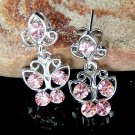 Pink Swarovski Crystal Bridal Wedding Butterfly Stud Earrings