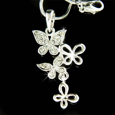Swarovski Crystal Butterfly Sisters or Friends Pendant Necklace