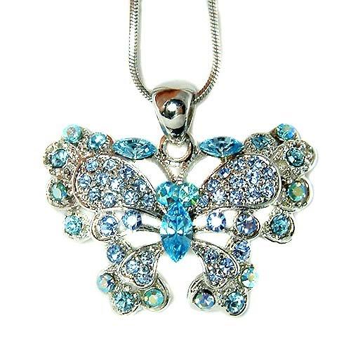 Something Blue Swarovski Crystal Butterfly Pendant Necklace