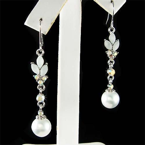 White Swarovski Pearl Drop Flower Crystal Bridal Earrings