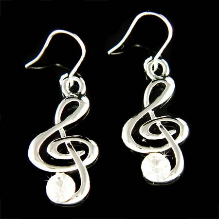 Treble G Clef Swarovski Crystal Music Note Pendant Earrings