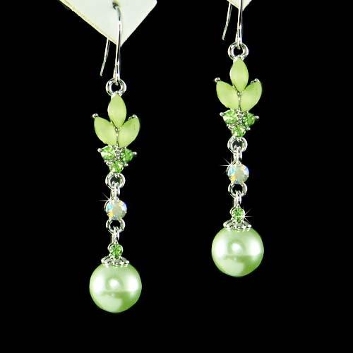 Spring Bride Green Swarovski Pearl Drop Flower Crystal Earrings