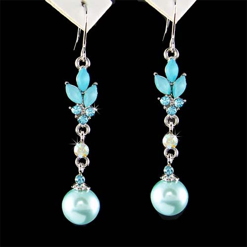 Aqua Blue Swarovski Pearl Drop Flower Bridal Crystal Earrings