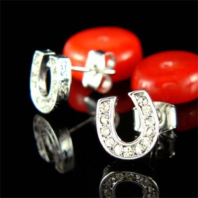 Western Bride Swarovski Crystal Horseshoe Stud Earrings
