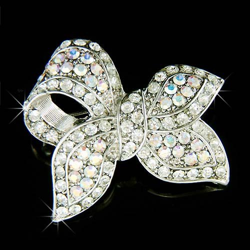 Swarovski Crystal Bridal Love Knot Bow Brooch for Wedding Dress