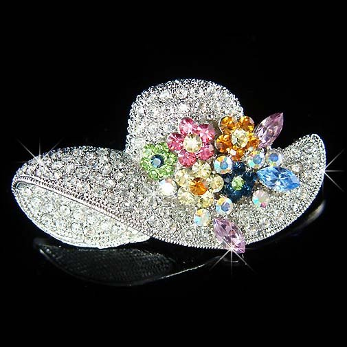 Big Sparkling Flower Lady Cocktail Hat Swarovski Crystal Brooch