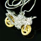 3D Motorcycle Electric Bike Swarvoski Crystal Pendant Necklace