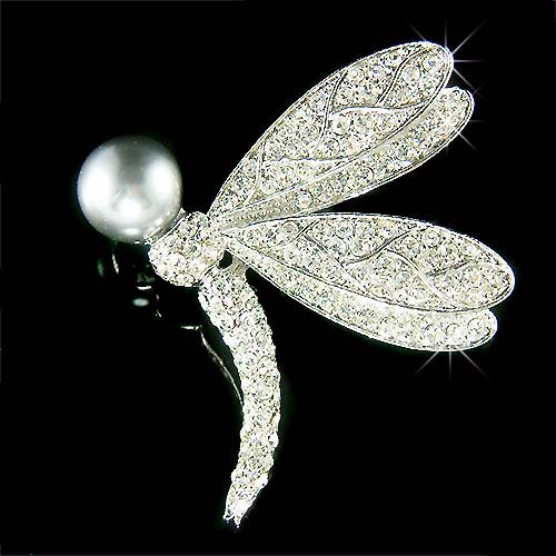 Swarovski Crystal Dragonfly Grey Pearl Ball Bouquet Brooch
