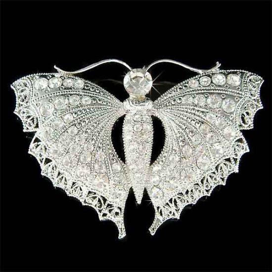 Huge Bridal Wedding Swarovski Crystal Filigree Butterfly Brooch