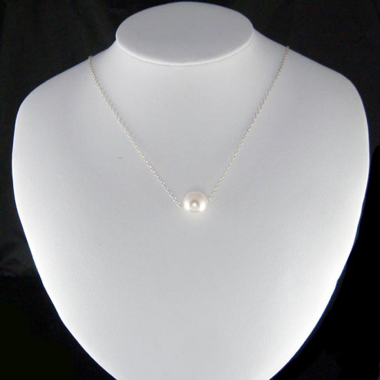 Simple Swarovski Big White Pearl Ball Sterling Silver Necklace