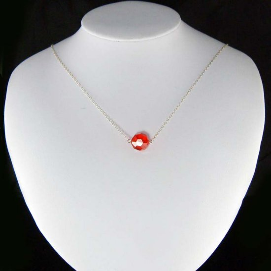 Simple Light Siam Red Swarovski Crystal Sterling Silver Necklace