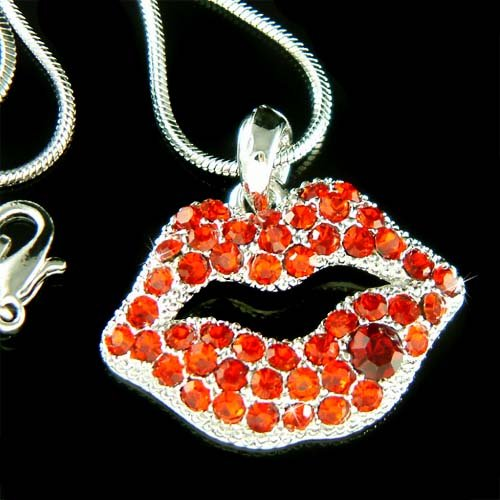 Flirty Hot Red Swarovski Crystal Sexy Lips Pendant Necklace