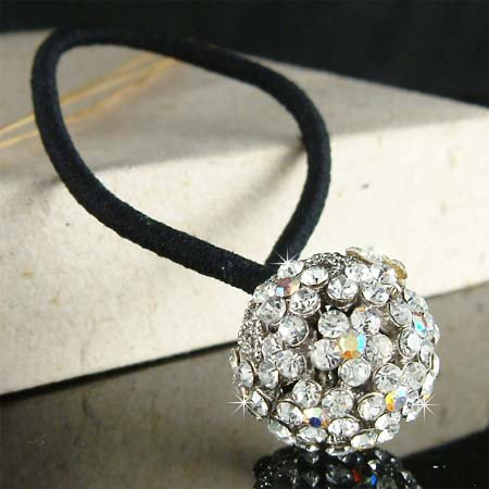 Swarovski Crystal Bridal Flower Ball Ponytail Holder Hair Band