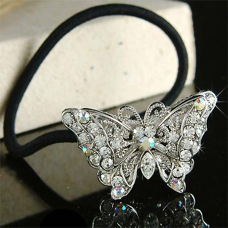 Swarovski Crystal Filigree Butterfly Ponytail Holder Hair Band