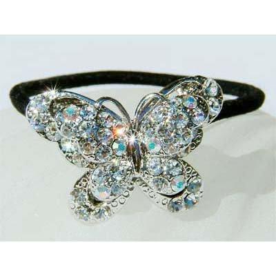 Swarovski Crystal Bridal Butterfly Ponytail Holder Hair Band