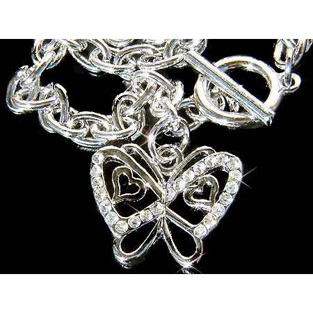 Swarovski Crystal Cut-out Butterfly with Heart Toggle Bracelet