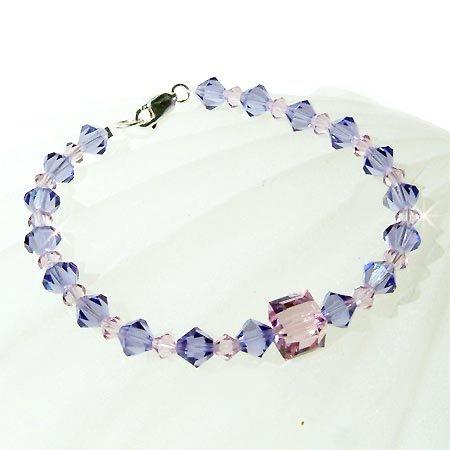 Light Purple Swarovski Crystal Ice Cube Sterling Silver Bracelet