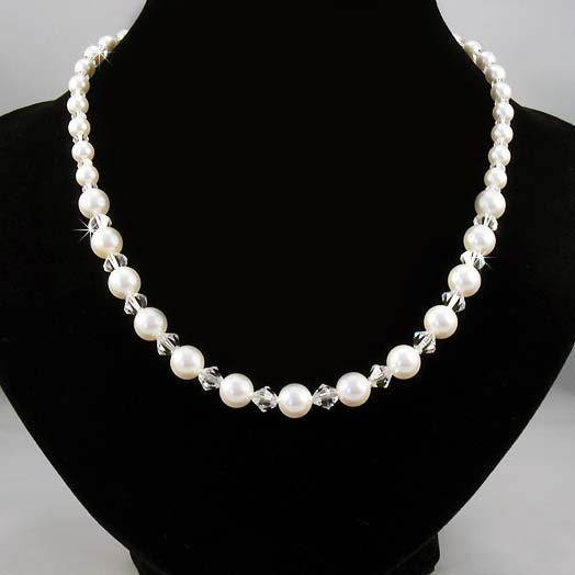Classic Swarovski White Pearl & Crystal Sterling Silver Necklace