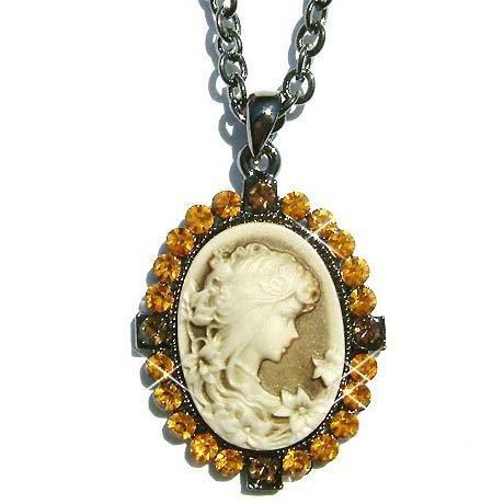 Antique Gold Topaz Swarovski Crystal Cameo Pendant Necklace