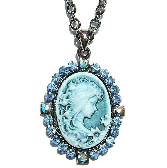 Antique Blue Swarovski Crystal Cameo Pendant Necklace